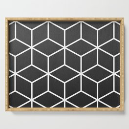 Charcoal and White - Geometric Textured Cube Design Serving Tray