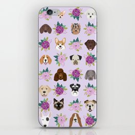 Dogs and cats pet friendly floral animal lover gifts dog breeds cat person iPhone Skin