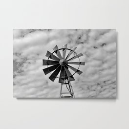 Black and white windmill Metal Print