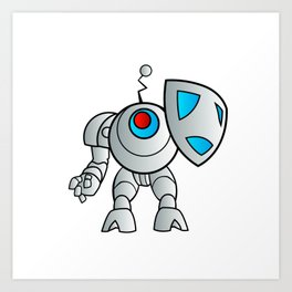 robot with a shield Art Print