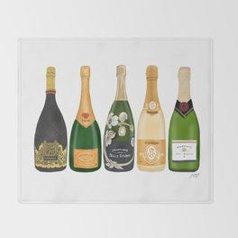 Champagne Bottles Throw Blanket