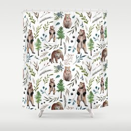 Bears, trees, and leaves pattern Shower Curtain