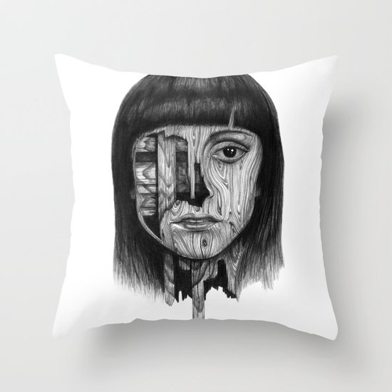Wood Girl Throw Pillow