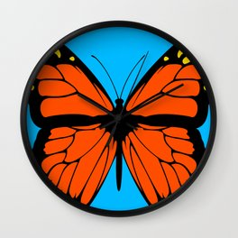 Butterfly Art Orange & Yellow With Blue Background Wall Clock