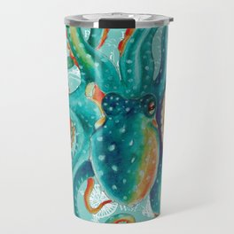 Teal Octopus On Light Teal Vintage Map Travel Mug