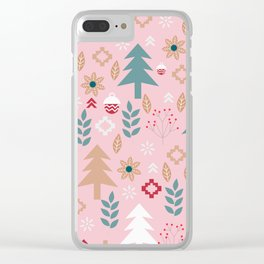 Cute Christmas in pink Clear iPhone Case