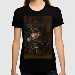 Rachel Ruysch - Roses, Convolvulus, Poppies and Other Flowers in an Urn on a Stone Ledge T-shirt