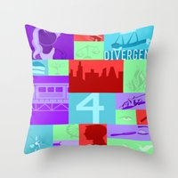 divergent Throw Pillows featuring Divergent Collage by anthony m sennett