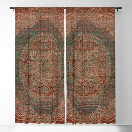 Bohemian Medallion I // 15th Century Old Distressed Red Green Colorful Ornate Accent Rug Pattern Blackout Curtain