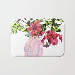 Human heart with flowers, plant and leaf, watercolor Bath Mat