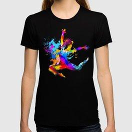 Hip hop dancer jumping T-shirt