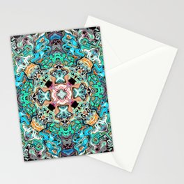 Symmetrical Turquoise Abstract Stationery Cards