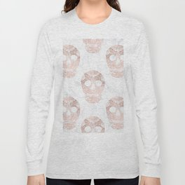 Modern hand drawn floral lace rose gold skulls on white marble Long Sleeve T-shirt