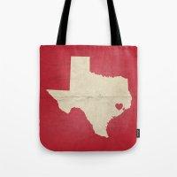 houston Tote Bags featuring Houston, Texas by Fercute