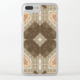 Victorian Art Deco Medieval Pattern brown SB28 Clear iPhone Case