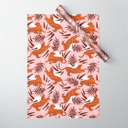 Vibrant Wilderness / Tigers on Pink Wrapping Paper
