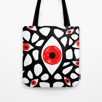 evil eye Tote Bags featuring Evil Eye by Denise R.