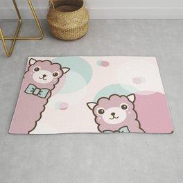 Pink Cute Llama Rug