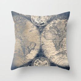 Antique World Map White Gold Navy Blue by Nature Magick Throw Pillow