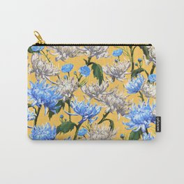 Mums Pattern  |  Yellow-Blue-Cream-White Carry-All Pouch