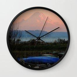 Mount Rainier at Dusk Wall Clock