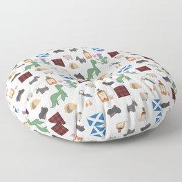 Famous Scottish Icons Pattern Floor Pillow