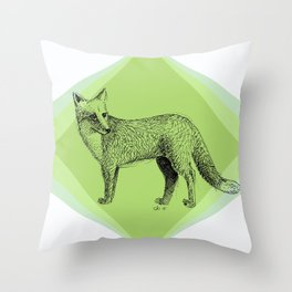 fox in forest Throw Pillow