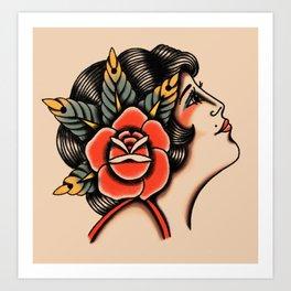 American traditional lady head Art Print