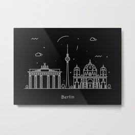 Berlin Minimal Skyline Drawing Metal Print