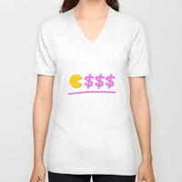 pacman V-neck T-shirts featuring Pacman by Isac