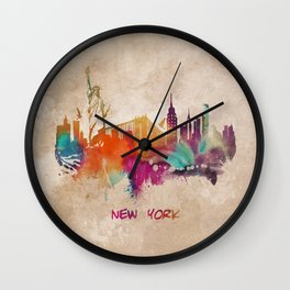 New York City Skyline  colored Wall Clock
