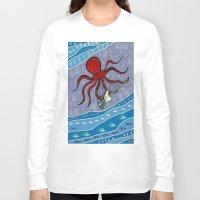 bass Long Sleeve T-shirts featuring squid bass by Huiskat