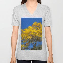 Blooming tree Geometric yellow and blue Unisex V-Neck