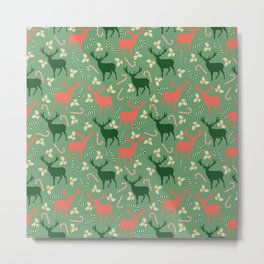 Hand painted Christmas green coral deer candy pattern Metal Print