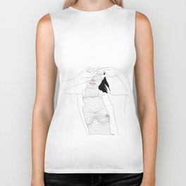 line drawing of a beautiful muse Biker Tank