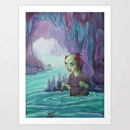 Cave Fishing Art Print
