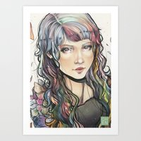 agnes cecile Art Prints featuring Agnes by Chen-Long Chung