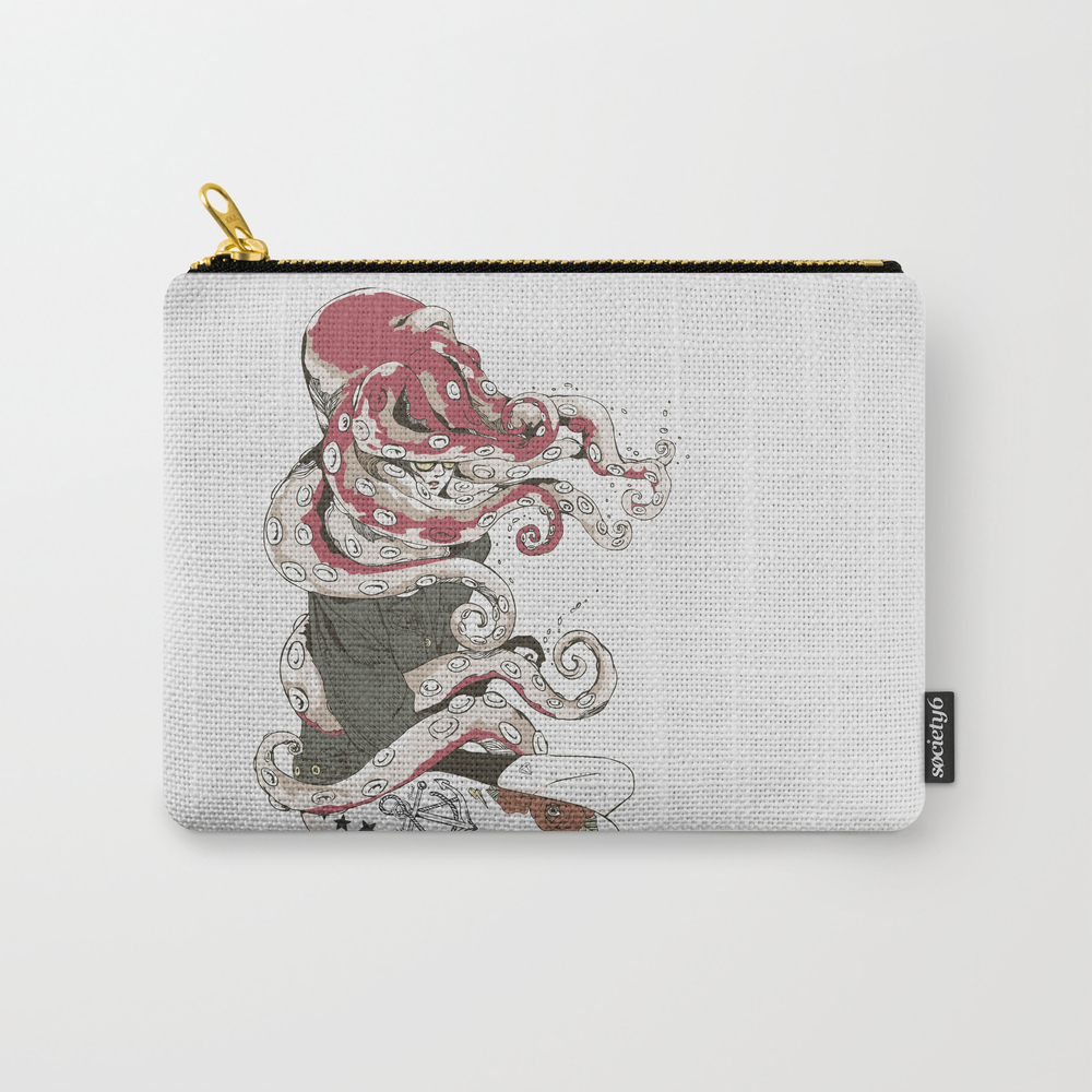 My Head Is An Octopus Carry-all Pouch by Huebucket CAP739176