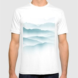 blue minimalist clouds T-shirt
