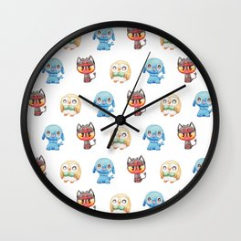 Rowlet, Litten and Popplio - Starters - Pocket Monsters Wall Clock