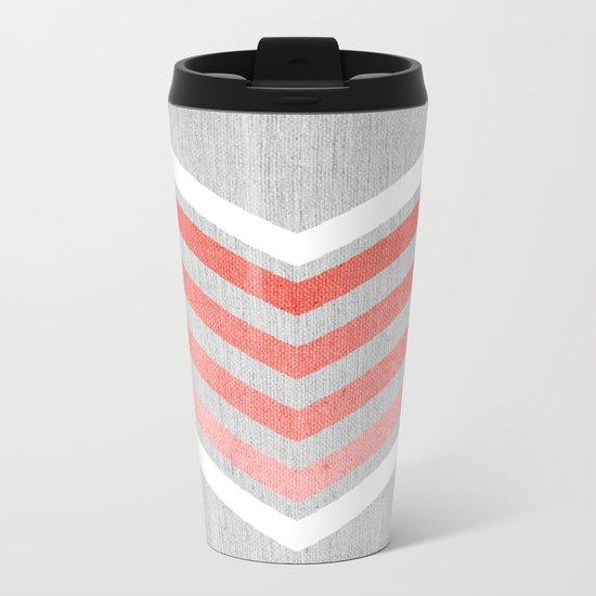 Coral Gradient Chevron on Silver Grey Wood Metal Travel Mug