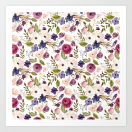 Violet and Pink Blossom on Gray Art Print