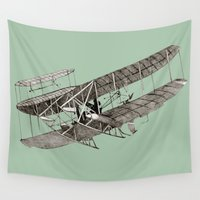 airplanes Wall Tapestries featuring plane1 by Кaterina Кalinich