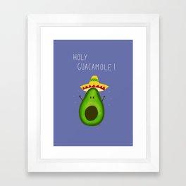 Holy Guacamole, avocado with sombrero Framed Art Print
