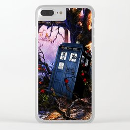 Tardis And Red Flowers Clear iPhone Case