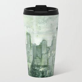 Seattle Skyline Watercolor Space Needle Emerald City 12th Man Art Travel Mug