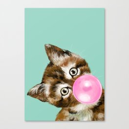 Bubble Gum Baby Cat in Green Canvas Print