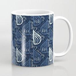 Indigo Blue Drops Pattern Japanese Style Hand Drawn Falling Raindrops Coffee Mug
