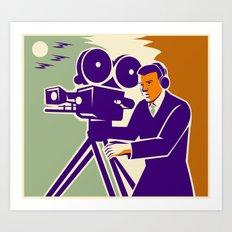 Cameraman Film Crew Vintage Video Movie Camera Art Print