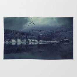Lost my Soul - Dark Blue Night Forest Rug
